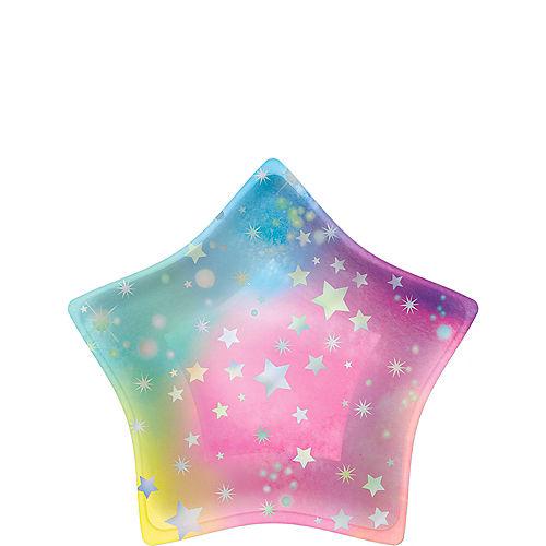 Iridescent Luminous Star-Shaped Rainbow Paper Dessert Plates, 8.5in, 8ct Image #1