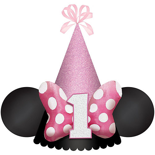 Glitter Minnie Mouse Forever 1st Birthday Cardstock & Fabric Party Hat, 5in x 7in Image #1