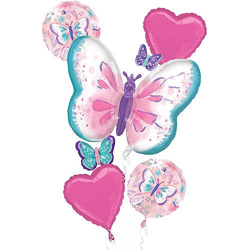 Fluttering Butterflies Foil Balloon Bouquet, 5pc Image #1