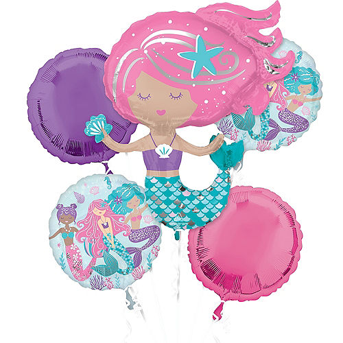 Shimmering Mermaid Foil Balloon Bouquet, 5pc Image #1