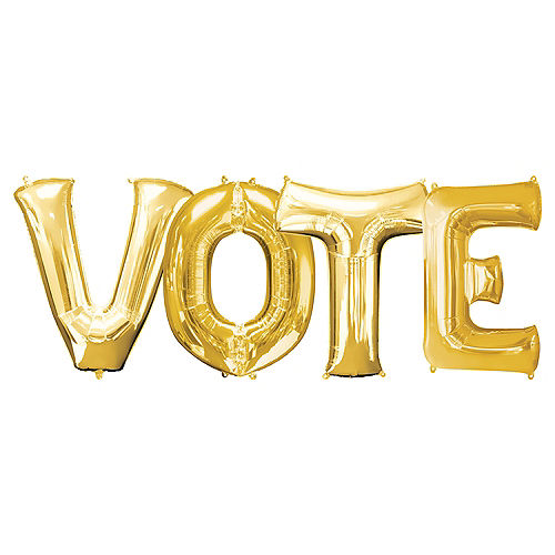 Gold Vote Balloon Phrase Banner Kit, 34in, 4pc Image #1