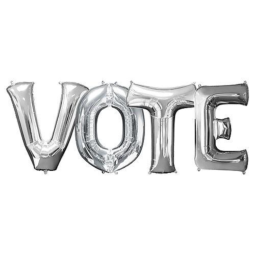 Silver Vote Balloon Phrase Banner Kit, 34in, 4pc Image #1