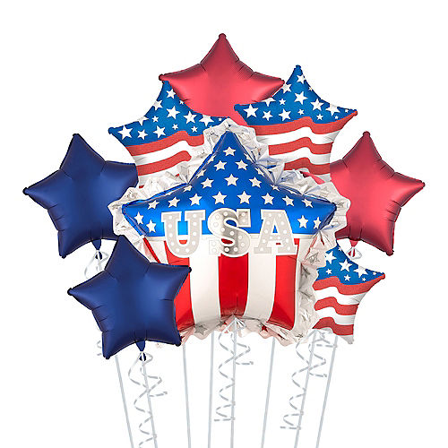 Patriotic American Flag USA Star Balloon Bouquet, 8pc Image #1
