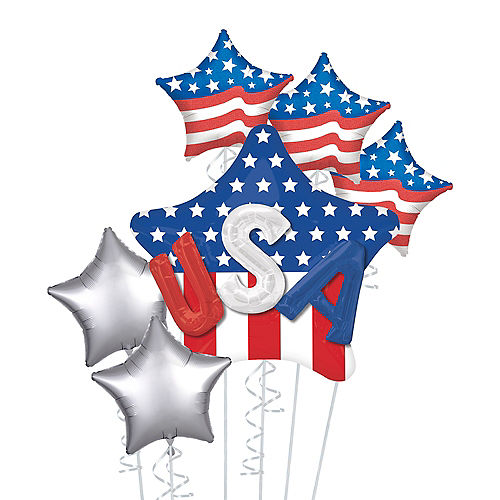 Patriotic American Flag 3D USA Star Balloon Bouquet, 6pc Image #1