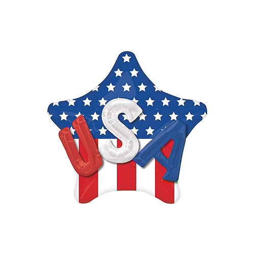Patriotic American Flag 3D USA Star Balloon Bouquet, 6pc Image #2