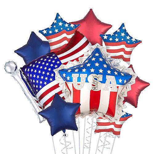 Patriotic American Flag Star Balloon Bouquet, 9pc Image #1
