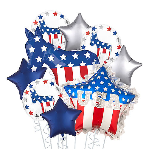 Democratic Donkey & Star Election Balloon Bouquet, 9pc Image #1