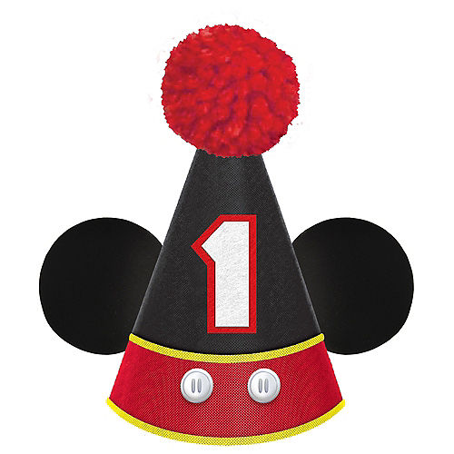 Mickey Mouse Forever 1st Birthday Cardstock & Fabric Party Hat, 5in x 7in Image #1