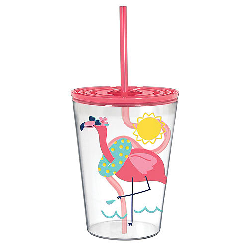 Summer Flamingo Plastic Tumbler with Silly Straw, 12oz Image #1