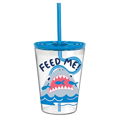 Feed Me Shark Plastic Tumbler with Silly Straw, 12oz Image #1