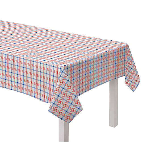 Summer Block Party Plaid Flannel-Backed Vinyl Table Cover, 52in x 90in Image #1