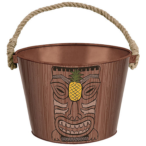 Vintage Tiki Metal Ice Bucket, 10in x 7in Image #1