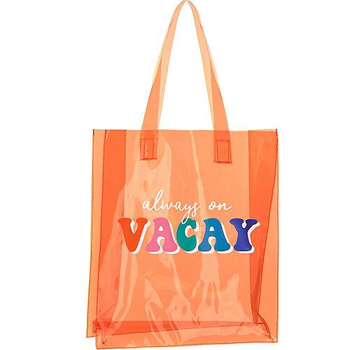 Translucent Orange Always On Vacay Vinyl Tote Bag, 14in x 16in Image #1