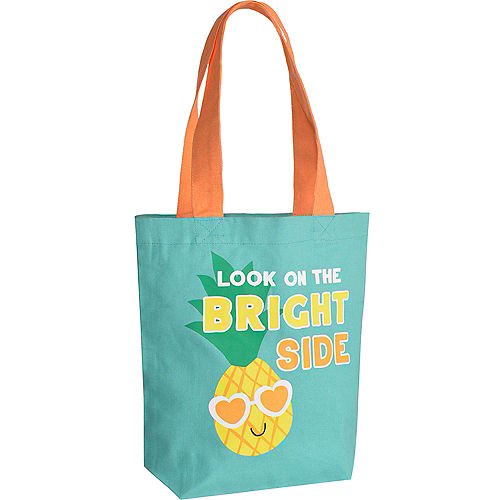 Green & Orange Look on the Bright Side Pineapple Cotton Tote Bag, 8.5in x 10in Image #1