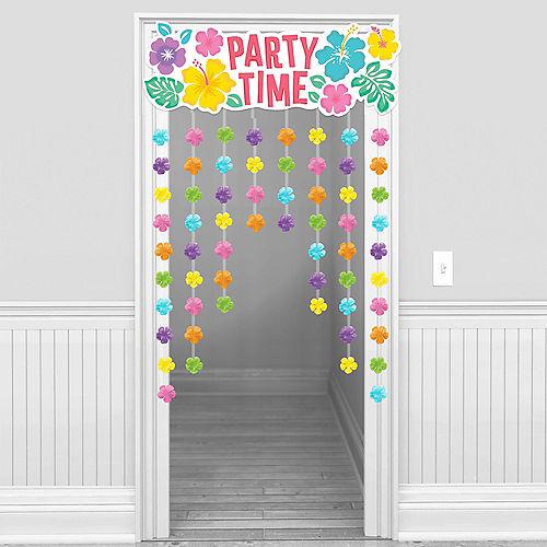 Summer Hibiscus Fabric Flower Doorway Curtain, 38in x 54in Image #1