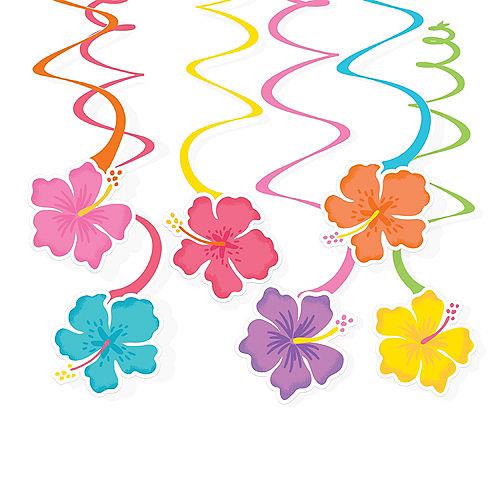 Summer Hibiscus Cardstock Swirl Decorations, 10in, 12ct Image #1
