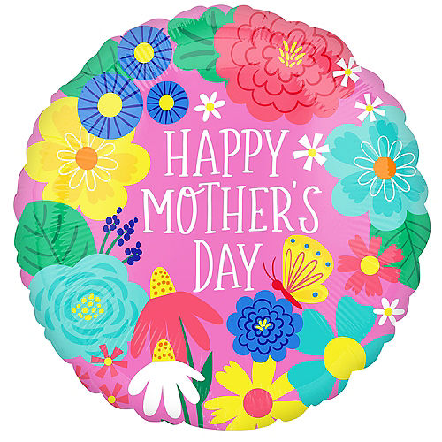 Pink Pretty Flower Mother's Day Foil Balloon, 17in Image #1
