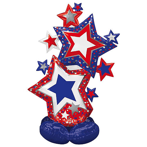 Airloonz Patriotic Star Cluster Foil Balloon, 5.25ft Image #1