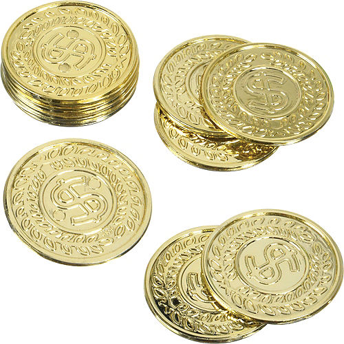 Dollar Sign Gold Coins 100ct Image #1