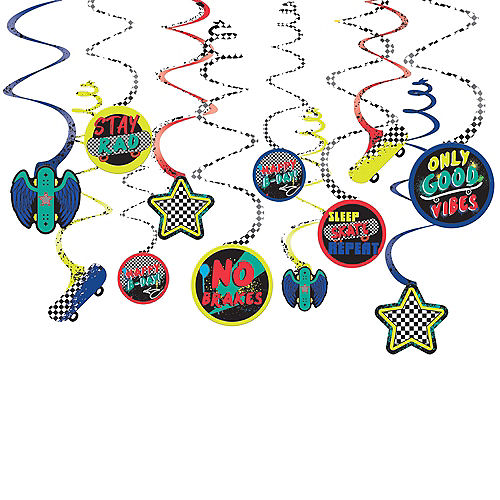Skater Party Birthday Cardstock Swirl Decorations, 12ct Image #1