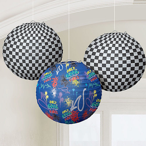 Skater Party Paper Lanterns, 9.5in, 3ct Image #1