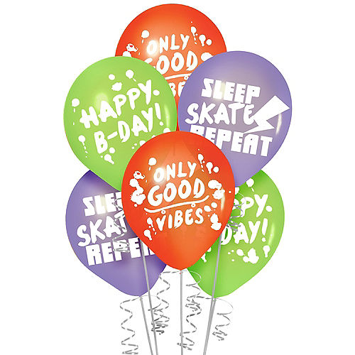 Skater Party Birthday Latex Balloons, 12in, 6ct Image #1