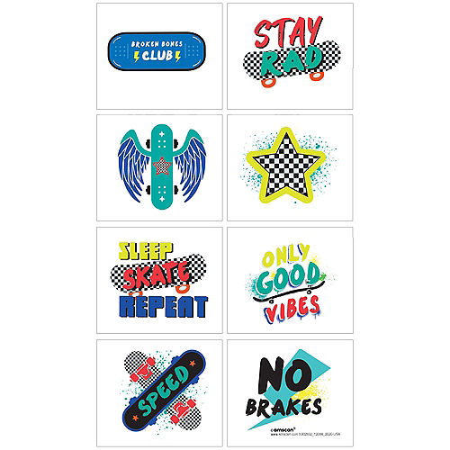 Skater Party Temporary Tattoos, 8ct Image #1