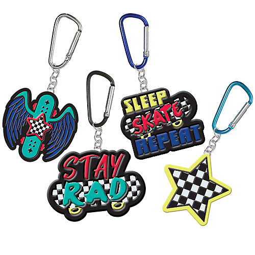 Skater Party Plastic Keychains, 2.25in, 8ct Image #1