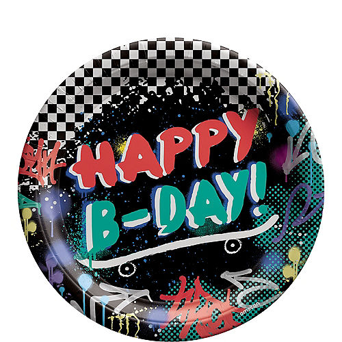 Skater Party Birthday Paper Lunch Plates, 9in, 8ct Image #1