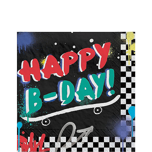 Skater Party Birthday Paper Lunch Napkins, 6.5in, 16ct Image #1