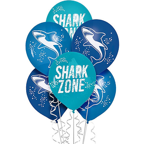 Shark Party Balloons, 12in, 6ct Image #1