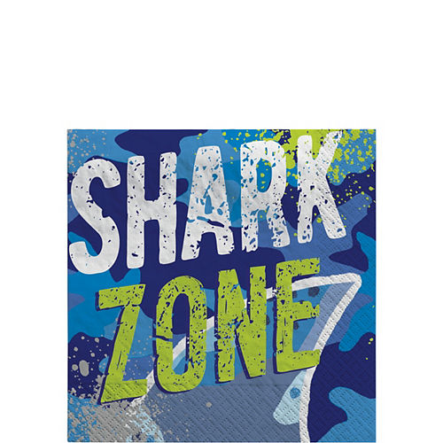 Shark Party Beverage Napkins, 5in, 16ct Image #1