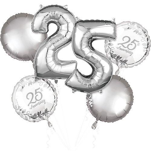 Silver 25th Anniversary Foil Balloon Bouquet, 6pc Image #1