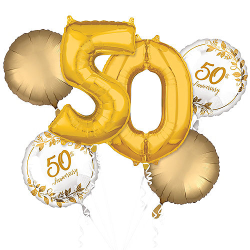 Gold 50th Anniversary Foil Balloon Bouquet, 6pc Image #1