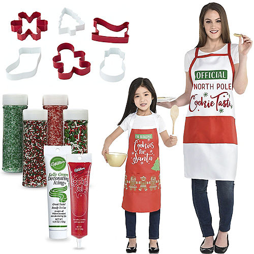 Child & Me Santa's Reindeer Cookie Decorating Kit with Aprons Image #1