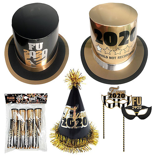 Black & Gold FU 2020 New Year's Party Kit for 16 Guests Image #1
