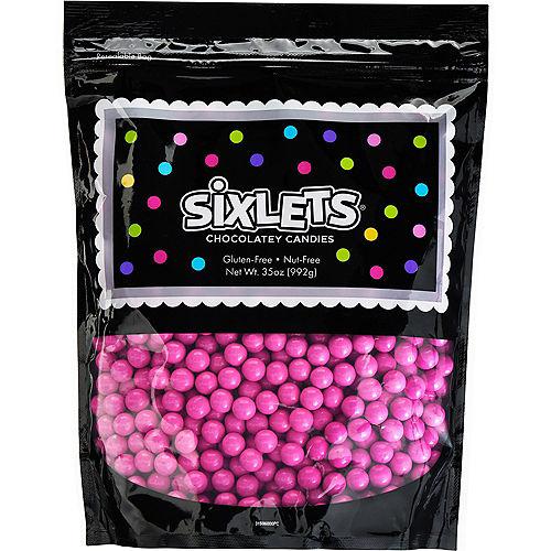 Bright Pink Chocolate Sixlets, 35oz Image #1