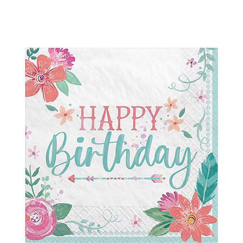 Free Spirit Boho Birthday Paper Lunch Napkins, 6.5in, 16ct Image #1