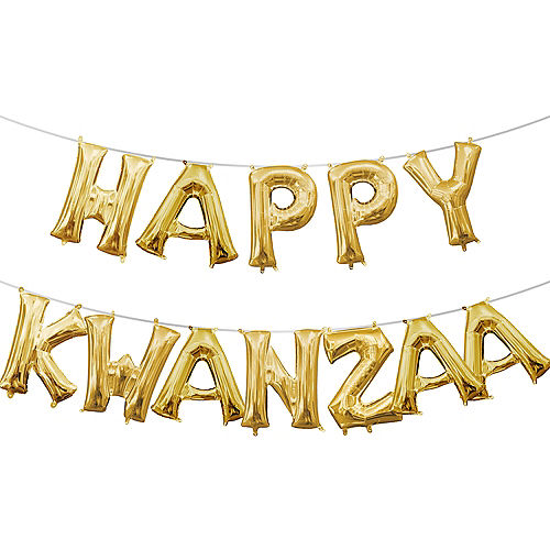 13in Air-Filled Gold Happy Kwanzaa Balloon Phrase Image #1