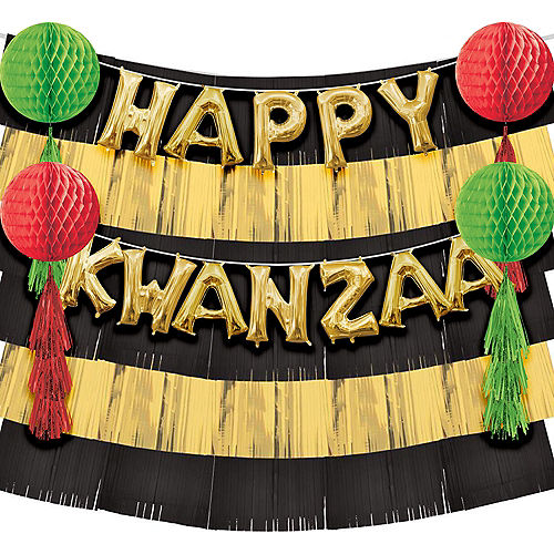 13in Air-Filled Gold Happy Kwanzaa Balloon Phrase Backdrop Kit Image #1