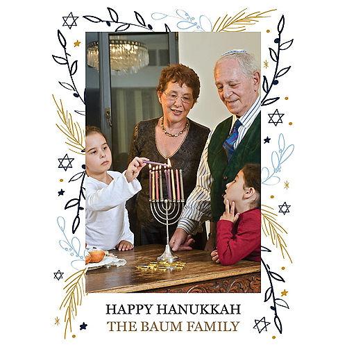 Custom Floral Hanukkah Photo Cards Image #1