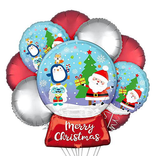 Christmas Snow Globe Foil Balloon Bouquet, 9pc Image #1