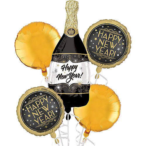 Vintage New Year's Bubbly Foil Balloon Bouquet, 5pc Image #1