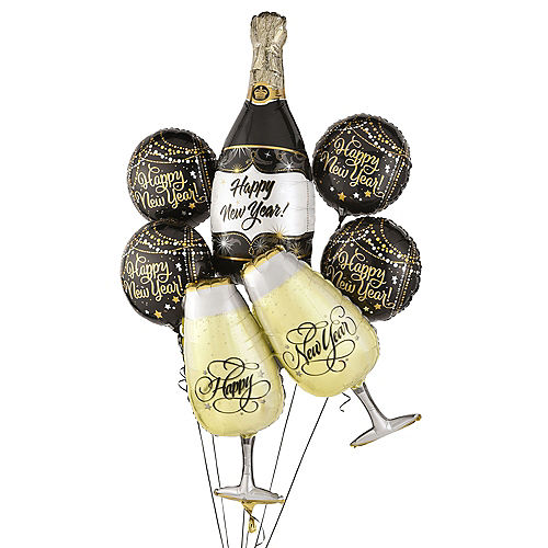 Champagne Poppin' New Year's Foil Balloon Bouquet, 6pc Image #1