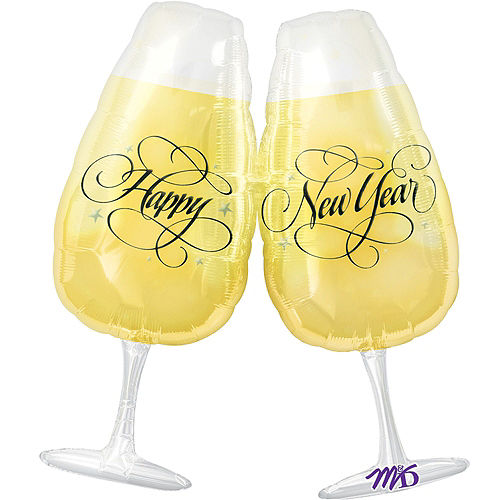 Champagne Poppin' New Year's Foil Balloon Bouquet, 6pc Image #2