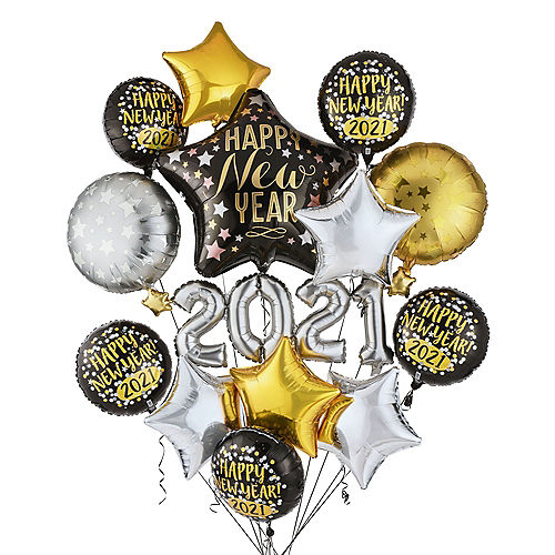 Black, Gold & Silver Happy New Year 2021 Foil Balloon Bouquet, 12pc Image #1