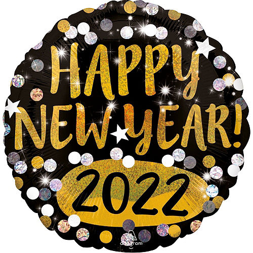 Black, Gold & Silver Happy New Year 2021 Foil Balloon Bouquet, 12pc Image #4