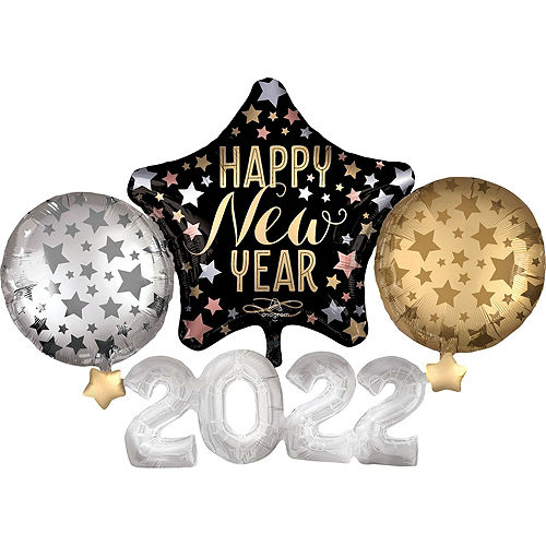 Black, Gold & Silver Happy New Year 2021 Foil Balloon Bouquet, 12pc Image #5