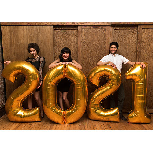Gold 2021 Foil Number Balloon Phrase, 50in Image #1