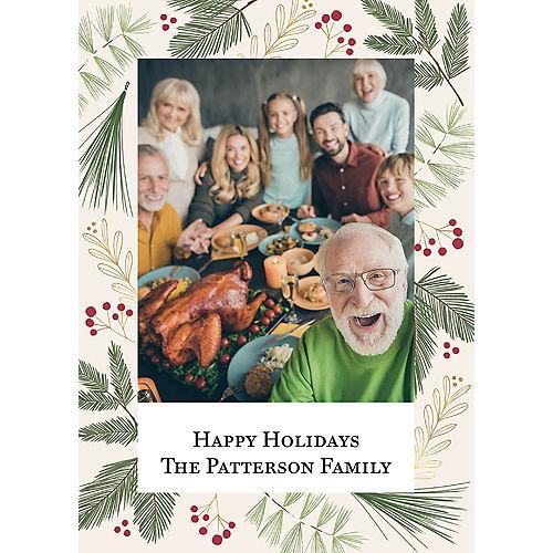 Custom Winter Foliage Holiday Photo Cards Image #1